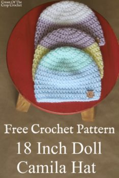 18 Inch Doll Camila Hat Crochet Pattern | Cream Of The Crop Crochet