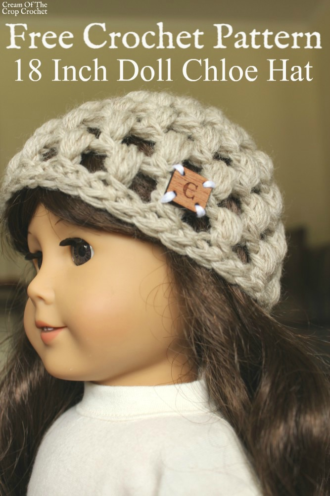 18 Inch Doll Chloe Hat Crochet Pattern | Cream Of The Crop Crochet