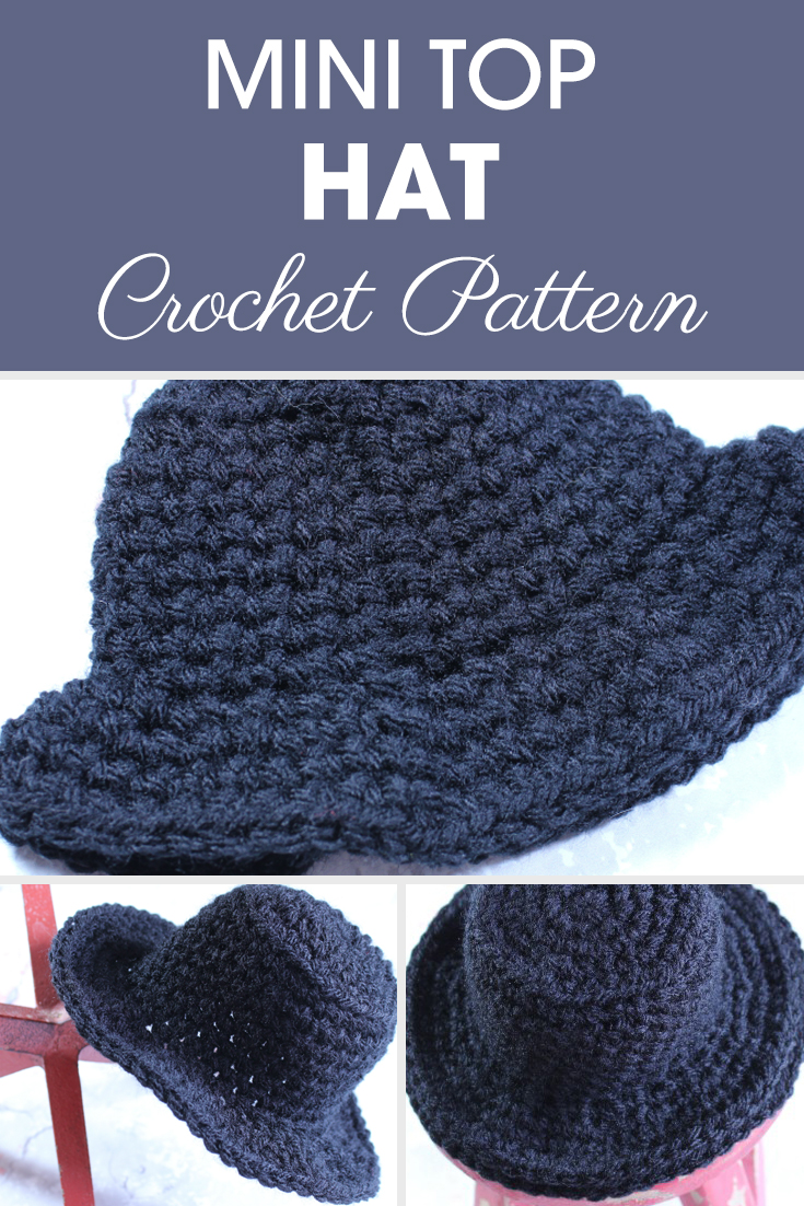 Make this Mini Top Hat pattern with Ashley for a fun, little afternoon project. Explore all of the possibilities of how to use this hat. #crochet #crochetlove #crochetaddict #crochetpattern #crochetinspiration #ilovecrochet #crochetgifts #crochet365 #addictedtocrochet #yarnaddict #yarnlove #crochethat