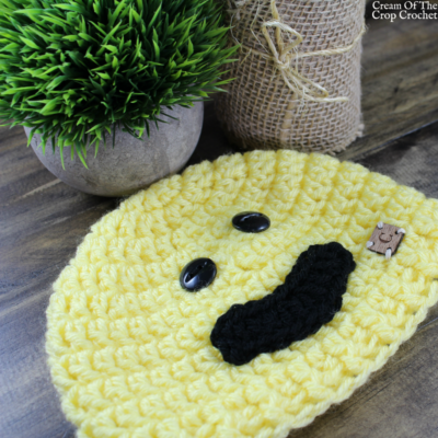 Smile Face Emoji Hat Crochet Pattern | Cream Of The Crop Crochet