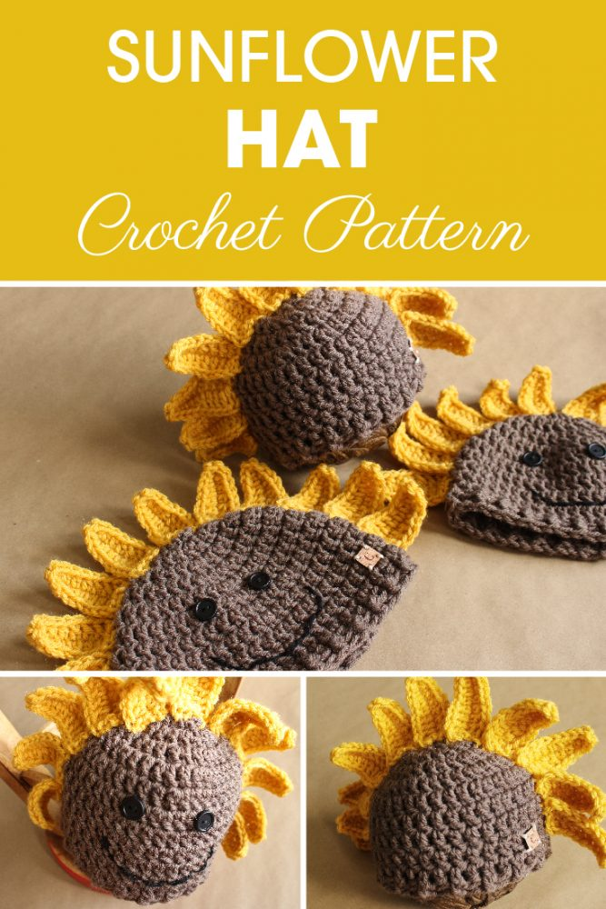 Saddie the Sunflower crochet hat has many possibilities and Ashley will show you how to make it with this great crochet pattern. #crochethat #crochetforkids #crochetbeanie #crochetpattern #freecrochetpattern #crochet #crochetaddict