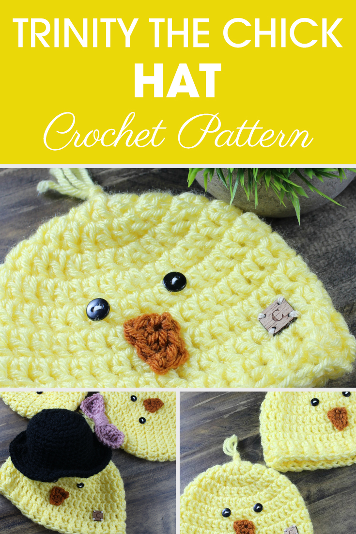 Trinity the Chick Hat is an adorable crochet pattern made for newborn to child size hat. If you need a little extra help, Ashley has included a video! #crochet #crochetlove #crochetaddict #crochetpattern #crochetinspiration #ilovecrochet #crochetgifts #crochet365 #addictedtocrochet #yarnaddict #yarnlove #crochethat #chickhat