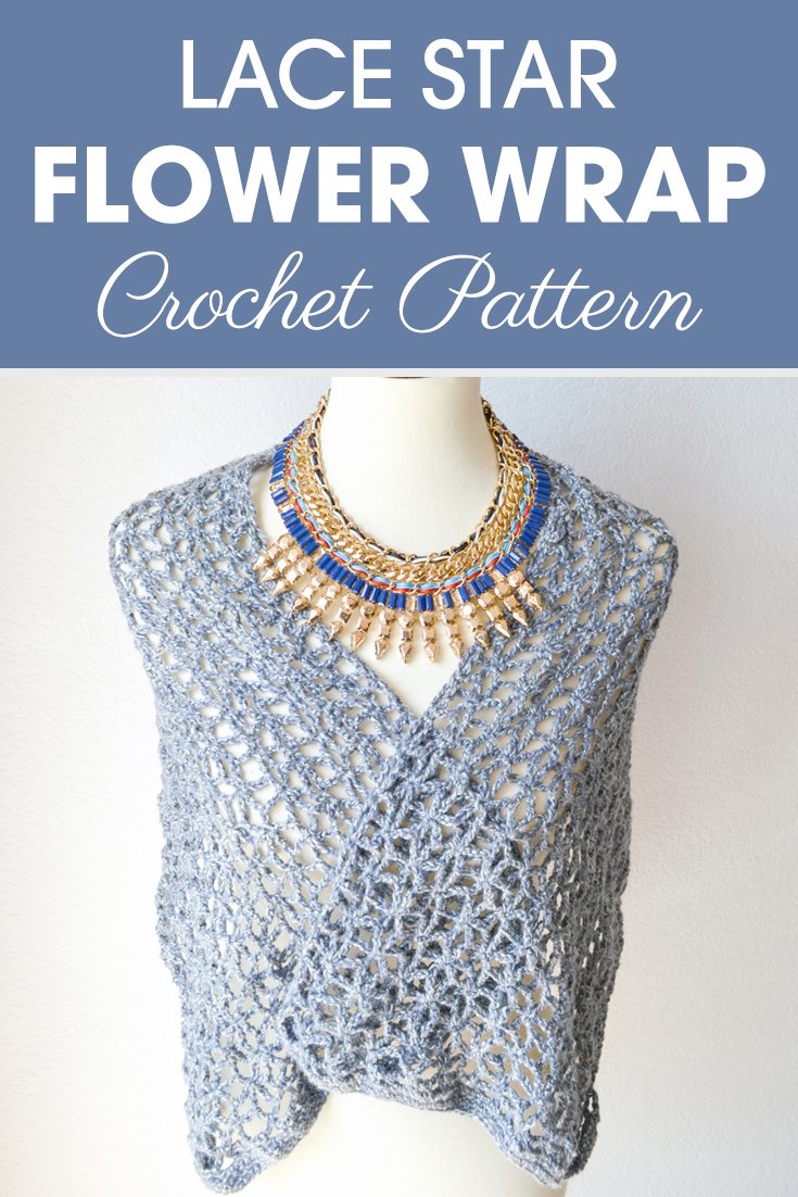 Lace Star Flower Wrap Crochet Pattern #crochetwrappattern #crochetpattern #crochetlove #crochetwarp