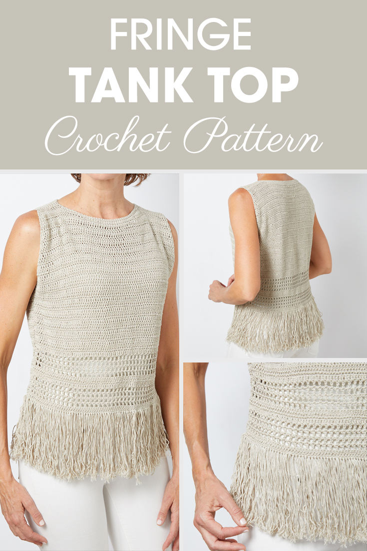 Fringe Tank Top - Since you can never have too much fringe in your life, it's time to try this fringe tank top crochet pattern. #crochet #crochettop #crochetpattern #crochetlove #summercrochet