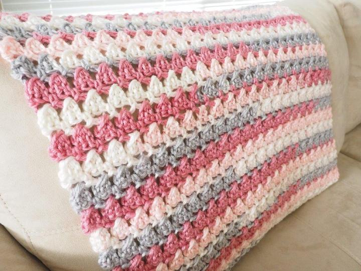 Cross-Over Block Stitch Baby Crochet Blanket