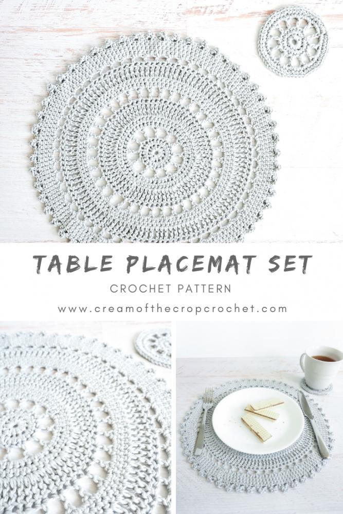 Table Placemat Set Crochet Pattern Cream Of The Crop Crochet