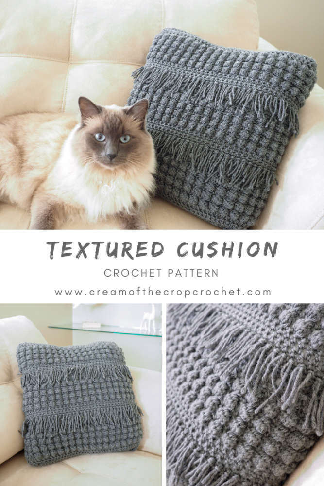 The Crochet Textured Cushion looks great in any space and is a really easy way to add a pop of style your room. #crochetcushion #crochetpillow #crochetpattern #crochetaddict #crochetlove