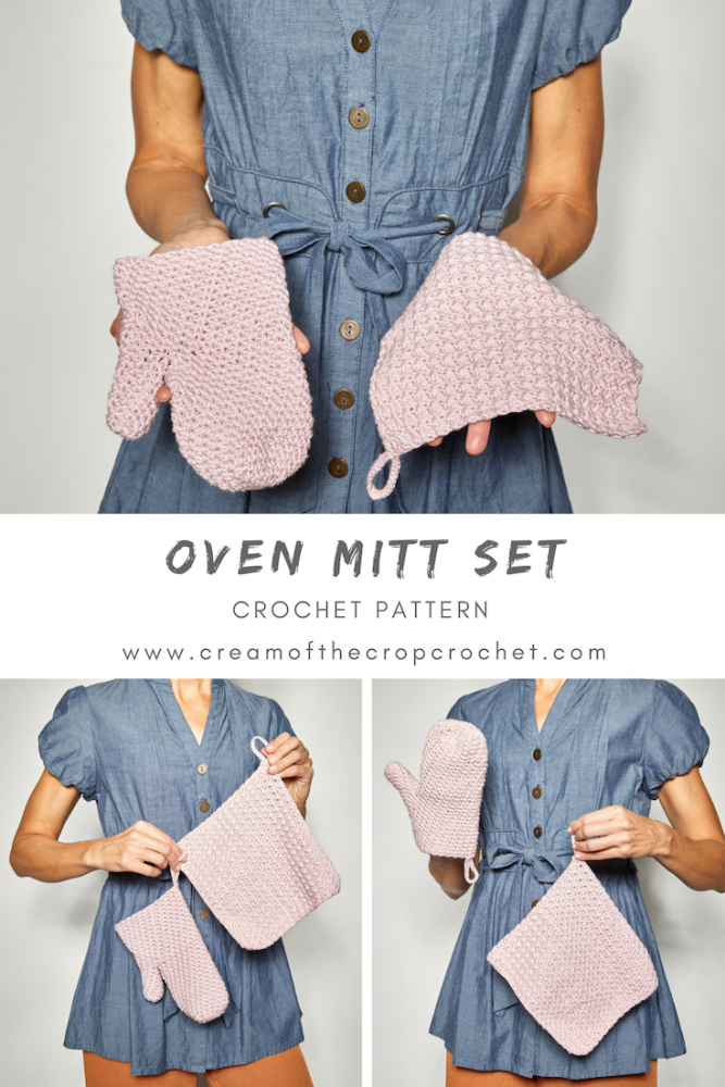 This Oven Mitt Set can be a quick last minute present that is thoughtful and season appropriate. #crochetmittens #crochetpattern #crochetlove #crochetaddict