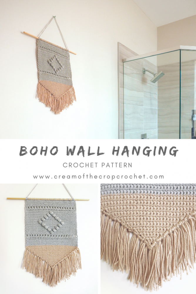 This Boho Wall Hanging is all about texture which is why it utilizes a variety of stitches. #crochetdecor #crochetpattern #crochetlove #crochetaddict