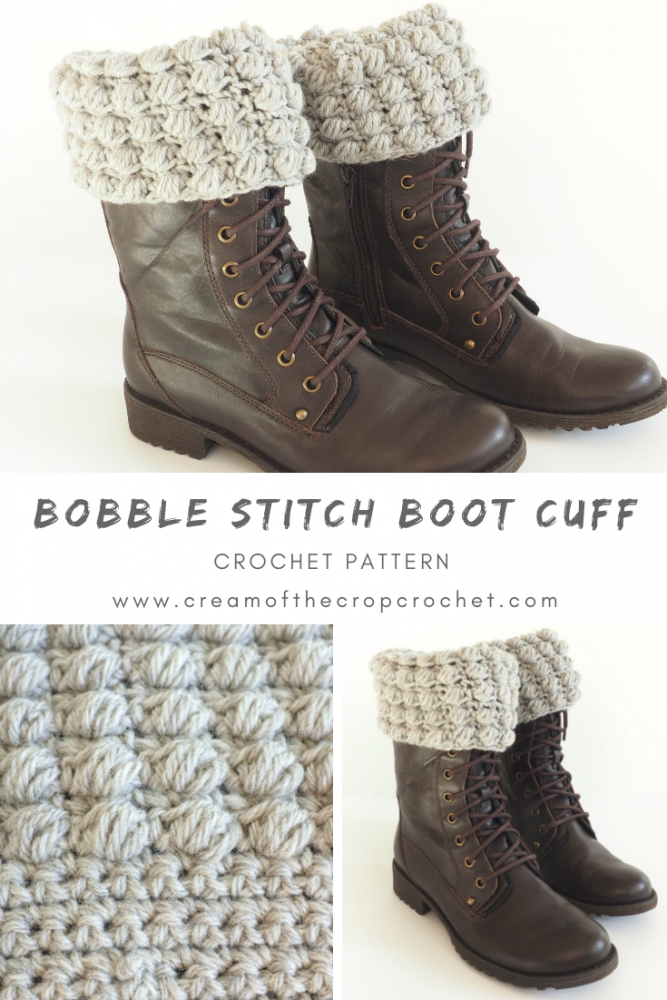 Bobble Stitch Boot Cuff Crochet Pattern Cream Of The Crop Crochet