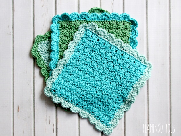 Easy Shell Crochet Dishcloth - Crochet dishcloth patterns are fun to work up and faster than any others. #EasyCrochetDishclothPatterns #crochetpatterns #dishclothpatterns #crochetaddict