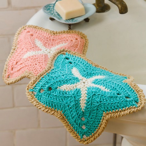 Starfish Dishcloth - Crochet dishcloth patterns are fun to work up and faster than any others. #EasyCrochetDishclothPatterns #crochetpatterns #dishclothpatterns #crochetaddict