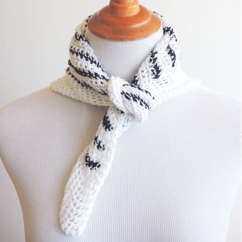 Striped Neck Scarf Crochet Pattern - These crochet scarf patterns will inspire creativity and excitement in you. #crochetscarfpatterns #crochetpatterns #crochetscarf #crochetaddict
