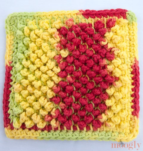 Tunisian Pebbles Dishcloth - Crochet dishcloth patterns are fun to work up and faster than any others. #EasyCrochetDishclothPatterns #crochetpatterns #dishclothpatterns #crochetaddict