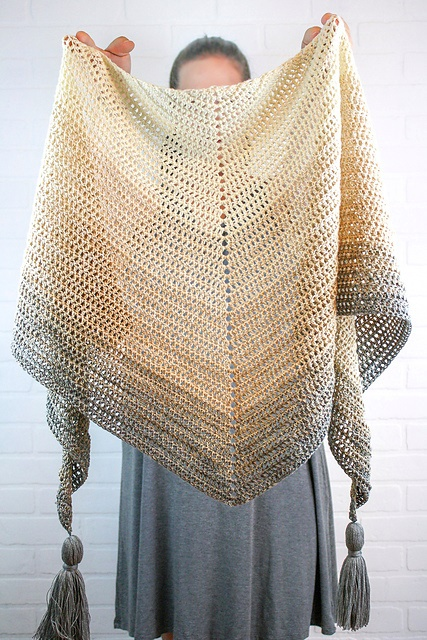My First Triangle Shawl - This list has 20 free crochet shawl patterns, each unique and suitable for any occasion. These are the best shawl patterns out there. #CrochetShawlPatterns #CrochetShawl #FreeCrochetPatterns