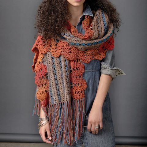 Patons Globetrotter Shawl - This list has 20 free crochet shawl patterns, each unique and suitable for any occasion. These are the best shawl patterns out there. #CrochetShawlPatterns #CrochetShawl #FreeCrochetPatterns
