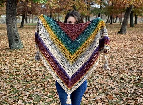 Warlock Triangle Shawl - This list has 20 free crochet shawl patterns, each unique and suitable for any occasion. These are the best shawl patterns out there. #CrochetShawlPatterns #CrochetShawl #FreeCrochetPatterns