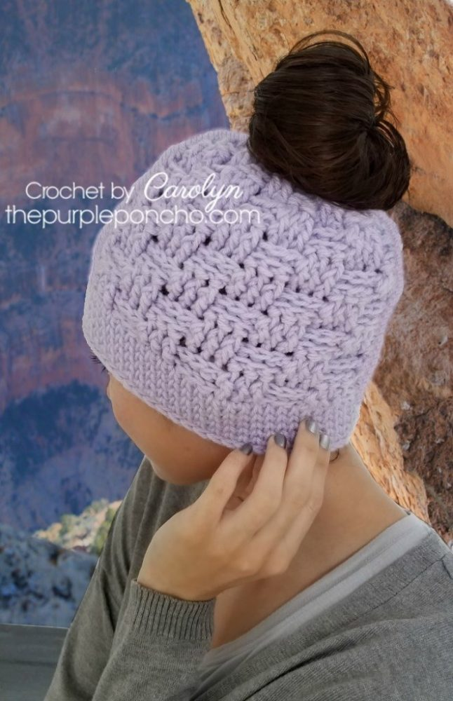 Basketweave Messy Bun Hat - These crochet hat patterns are so stylish and fun to make. Each one uses different crochet stitches to create one of a kind designs. #MessyBunHatCrochetPatterns #HatCrochetPatterns #CrochetPatterns
