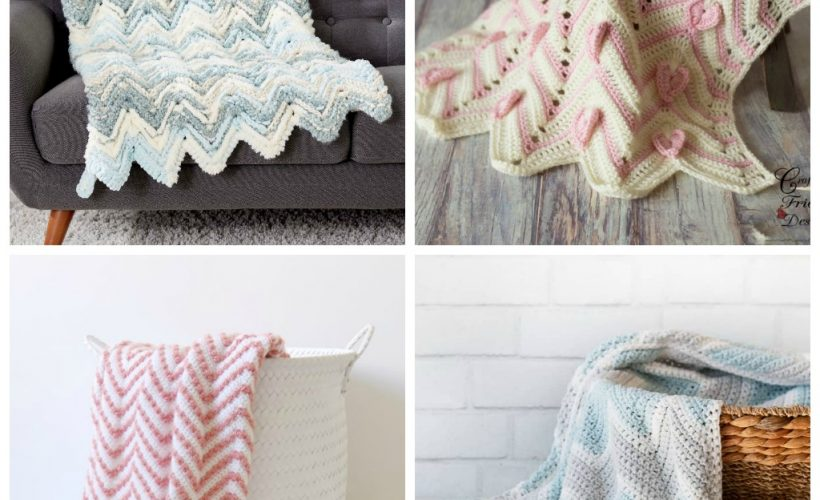 These crochet blankets are so pretty and an adventure to make. Test out your stitch knowledge with these exciting afghan patterns. #ChevronCrochetBlanket #CrochetBlanket #CrochetPatterns