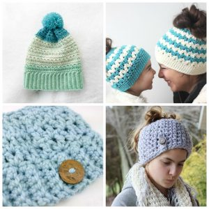These crochet hat patterns are so stylish and fun to make. Each one uses different crochet stitches to create one of a kind designs. #MessyBunHatCrochetPatterns #HatCrochetPatterns #CrochetPatterns