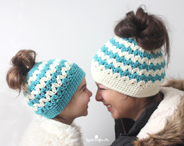 Mommy and Me Messy Bun Hats - These crochet hat patterns are so stylish and fun to make. Each one uses different crochet stitches to create one of a kind designs. #MessyBunHatCrochetPatterns #HatCrochetPatterns #CrochetPatterns