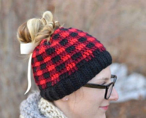 Plaid Messy Bun Hat - These crochet hat patterns are so stylish and fun to make. Each one uses different crochet stitches to create one of a kind designs. #MessyBunHatCrochetPatterns #HatCrochetPatterns #CrochetPatterns