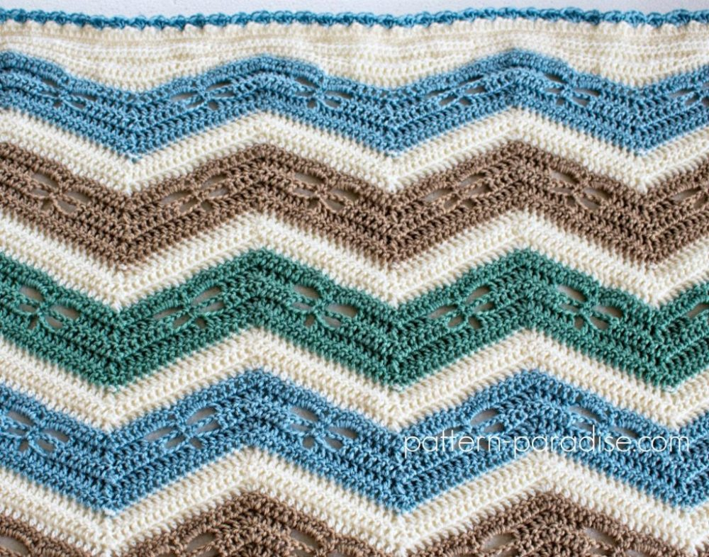 Dragonfly Chevron Baby Blanket - These crochet blankets are so pretty and an adventure to make. Test out your stitch knowledge with these exciting afghan patterns. #ChevronCrochetBlanket #CrochetBlanket #CrochetPatterns