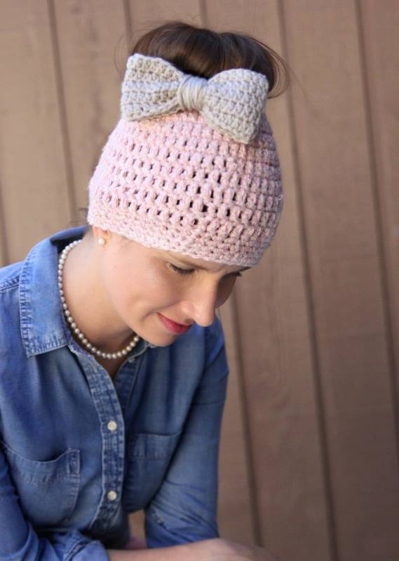 Easy Messy Bun Hat - These crochet hat patterns are so stylish and fun to make. Each one uses different crochet stitches to create one of a kind designs. #MessyBunHatCrochetPatterns #HatCrochetPatterns #CrochetPatterns