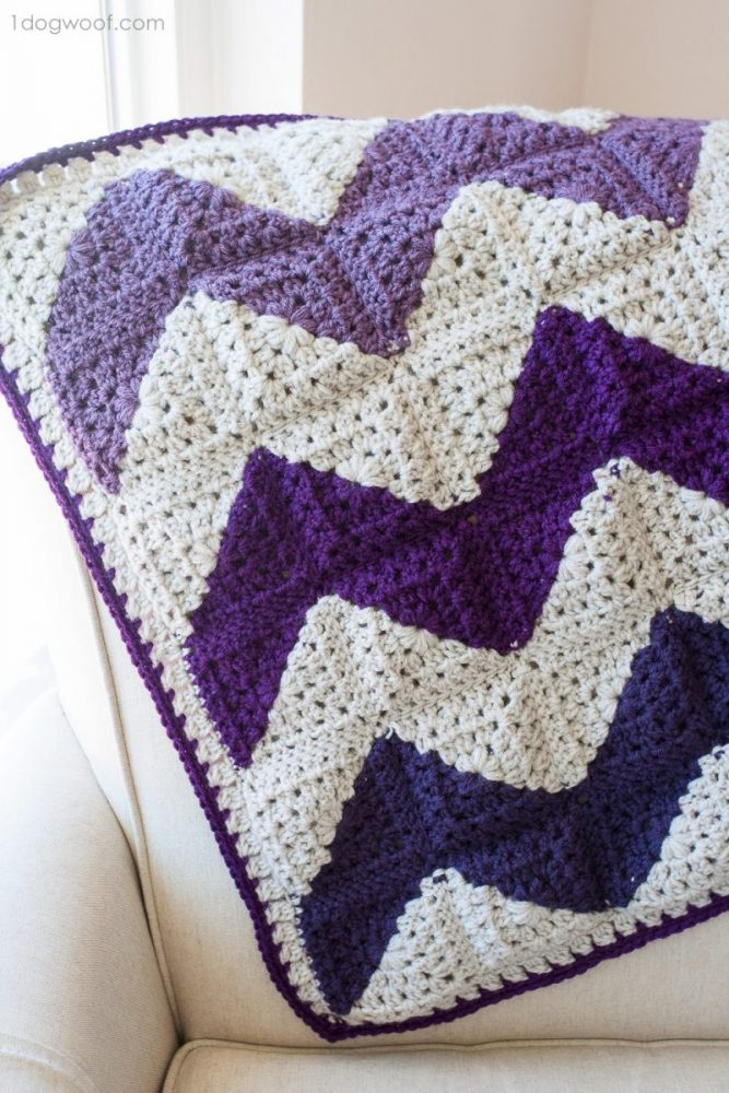 Granny Squares Chevron Afghan - These crochet blankets are so pretty and an adventure to make. Test out your stitch knowledge with these exciting afghan patterns. #ChevronCrochetBlanket #CrochetBlanket #CrochetPatterns