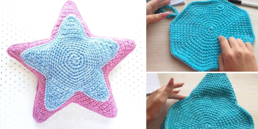 Crochet Star Pillow - These are the best pillows and they're all so beautiful. There are more fun, vibrant designs and more modern crochet pillows on this list. #EasyCrochetPillows #CrochetPillows #CrochetPatterns