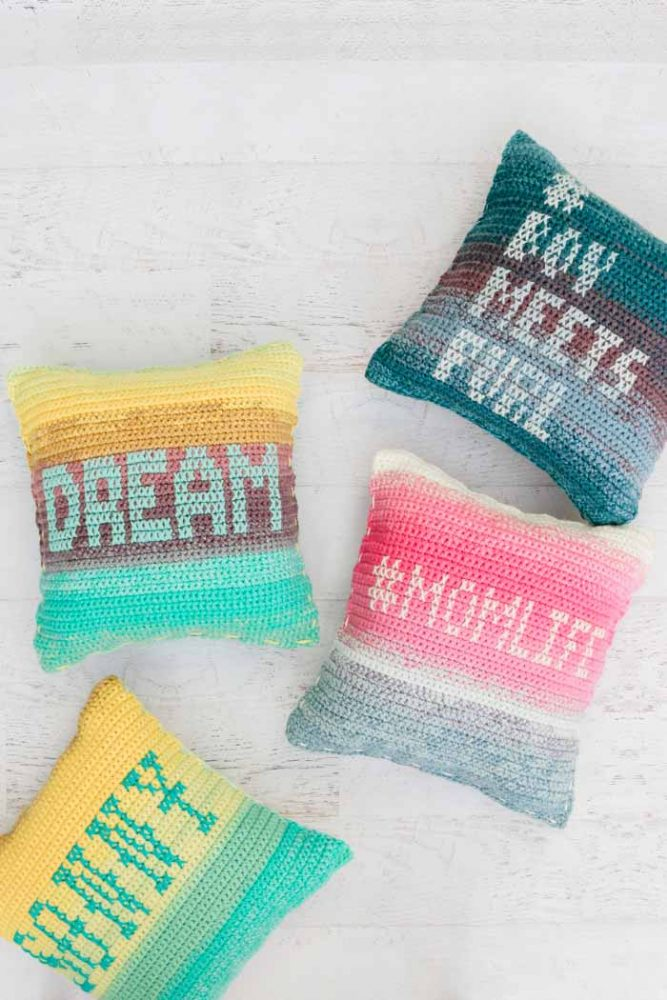 Mandala Ombre Pillows - These are the best pillows and they're all so beautiful. There are more fun, vibrant designs and more modern crochet pillows on this list. #EasyCrochetPillows #CrochetPillows #CrochetPatterns