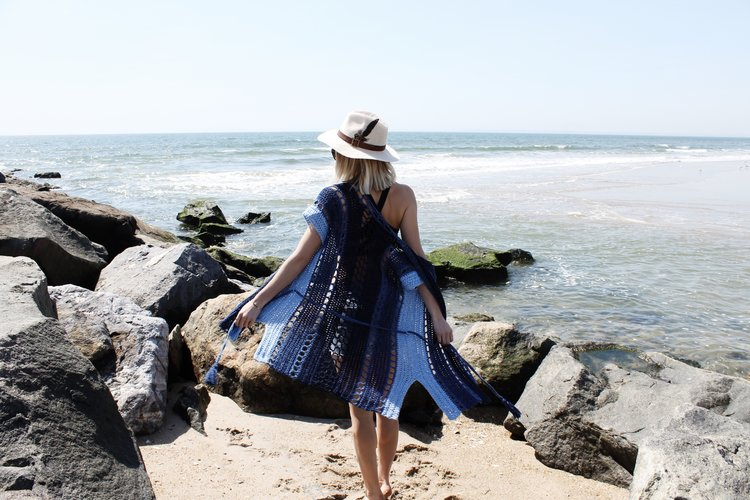 Arvene Beach Robe - These DIY crochet beach cover ups are stylish and fun to make. From a crochet wrap to a crochet tunic, you can make something for anyone's style. #CrochetBeachCoverUps #CrochetPatterns #FreeCrochetPatterns
