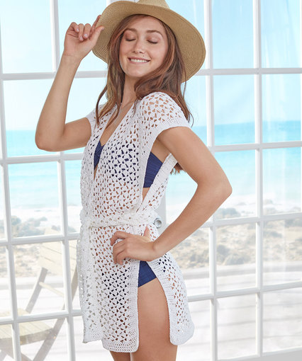 Beachy Cover-up - These DIY crochet beach cover ups are stylish and fun to make. From a crochet wrap to a crochet tunic, you can make something for anyone's style. #CrochetBeachCoverUps #CrochetPatterns #FreeCrochetPatterns