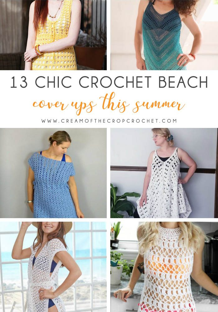 These DIY crochet bathing suit cover ups are stylish and fun to make. From a crochet wrap to a crochet tunic, you can make something for anyone's style. #CrochetBeachCoverUps #CrochetPatterns #FreeCrochetPatterns