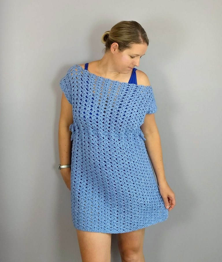 Iris Swim Cover-up - These DIY crochet beach cover ups are stylish and fun to make. From a crochet wrap to a crochet tunic, you can make something for anyone's style. #CrochetBeachCoverUps #CrochetPatterns #FreeCrochetPatterns
