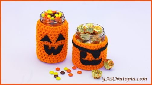 Halloween Crochet Jar Covers - These 13 crochet Halloween pumpkin patterns should be enough to create all the pumpkins you want. #crochethalloweenpumpkins #crochetpatterns #halloweencrochetpatterns