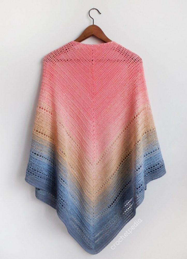 Lake Sunset Shawl - No matter what you're looking for these crochet shawl patterns will allow you to learn, grow and express yourself! #crochetshawlpatterns #crochetpatterns #freecrochetpatterns