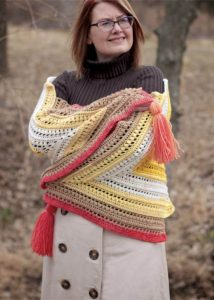 The Wrap Me in Sunshine Shawl - No matter what you're looking for these crochet shawl patterns will allow you to learn, grow and express yourself! #crochetshawlpatterns #crochetpatterns #freecrochetpatterns
