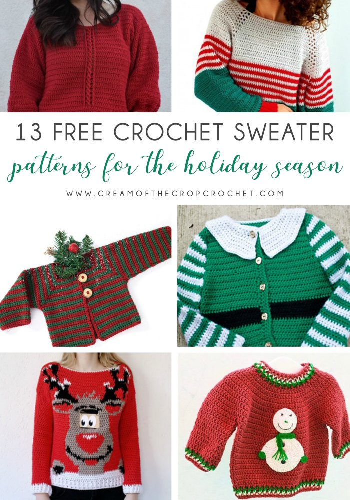 13 Free Crochet Sweater Patterns for the Holiday Season - Here are 13 free crochet sweater patterns for the holiday season, including adorable outfits for baby, and out-of-this-world ugly Christmas sweaters! #freecrochetsweaterpatterns #crochetpatterns #crochetsweaters
