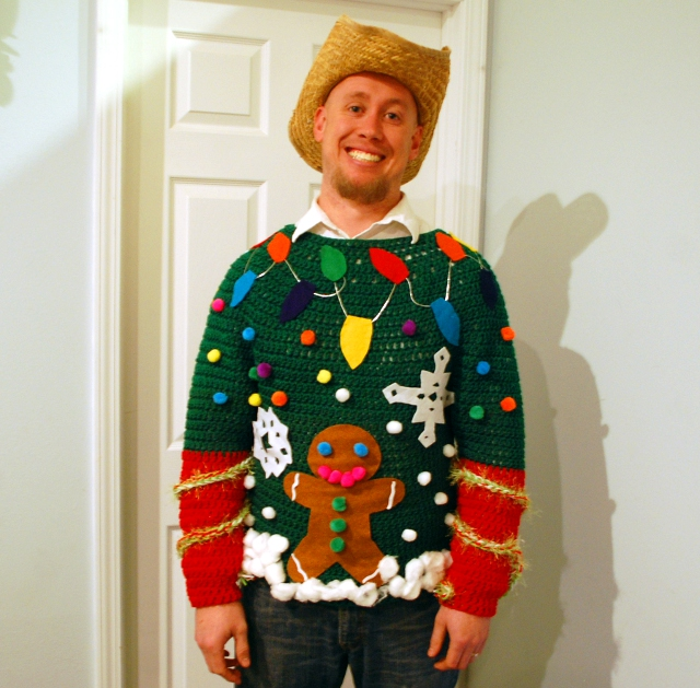 Tacky Christmas Sweater - Here are 13 free crochet sweater patterns for the holiday season, including adorable outfits for baby, and out-of-this-world ugly Christmas sweaters! #freecrochetsweaterpatterns #crochetpatterns #crochetsweaters