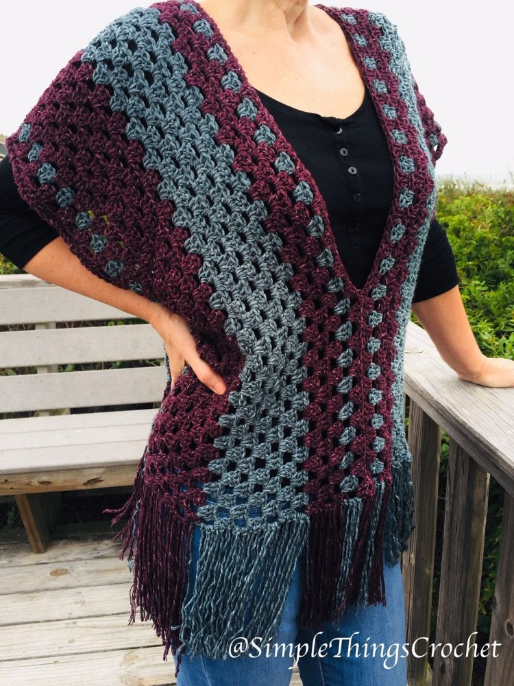 Misty Morning Poncho Top - These free crochet poncho patterns may be used this winter, but many of the designs here can also work up to spring and even on a cool summer day! #freecrochetponchopatterns #crochetponcho #crochetpatterns