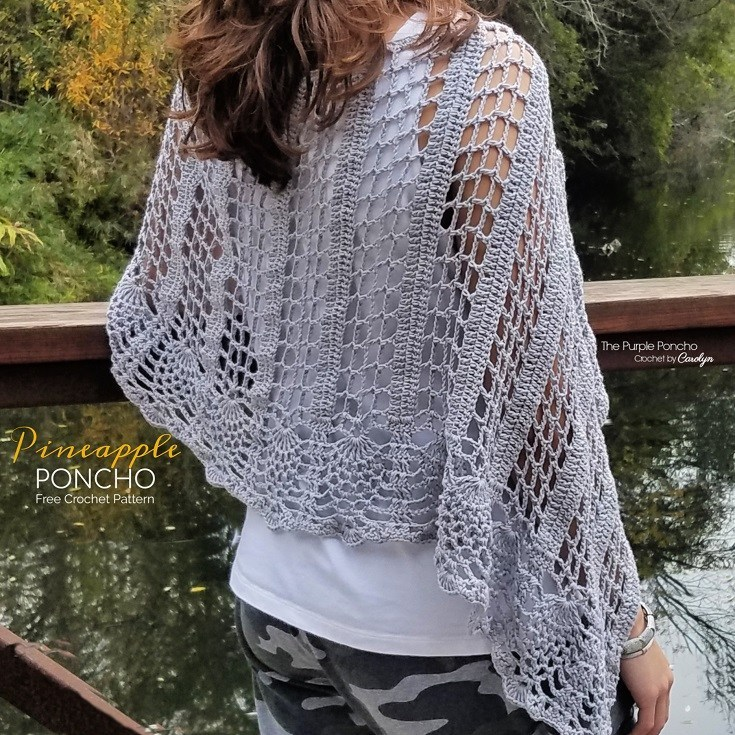 Pineapple Poncho - These free crochet poncho patterns may be used this winter, but many of the designs here can also work up to spring and even on a cool summer day! #freecrochetponchopatterns #crochetponcho #crochetpatterns