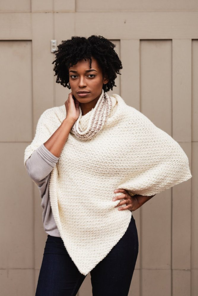 The Hot Cocoa Poncho - These free crochet poncho patterns may be used this winter, but many of the designs here can also work up to spring and even on a cool summer day! #freecrochetponchopatterns #crochetponcho #crochetpatterns