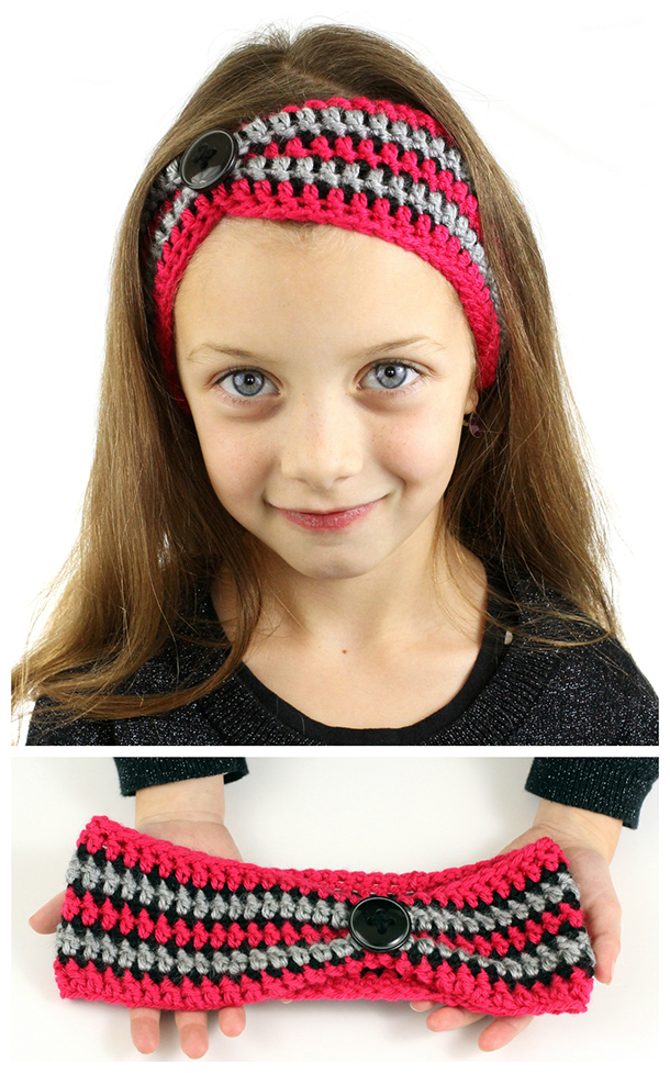 Striped Pinched Crochet Headband - These crochet headbands will be a great gift for your little daughters, nieces or girlfriends who love to keep their hair away from their faces. #crochetheadbands #crochetheadbandpatterns #crochetpatterns